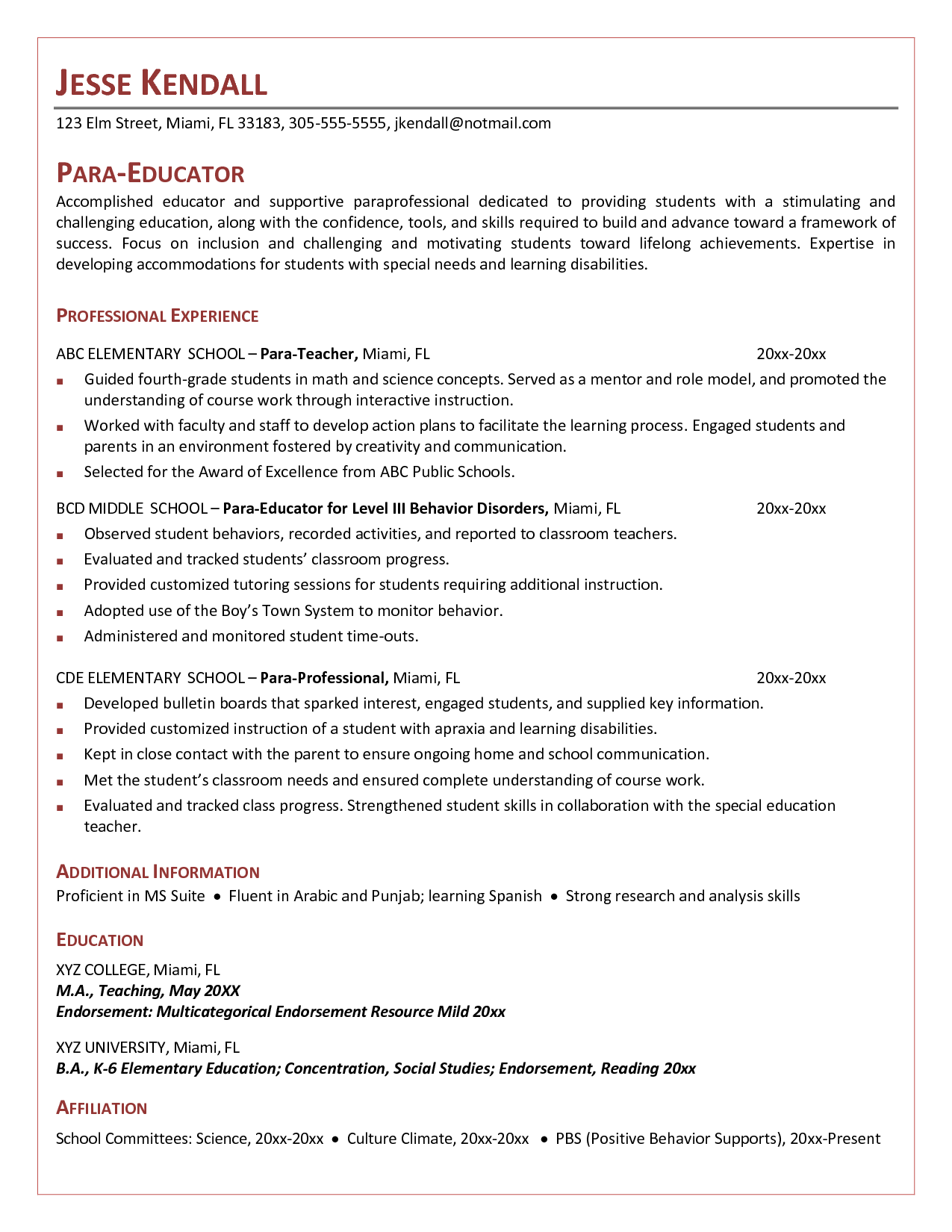 Elementary School Teacher Resume Cover Letter For Paraeducator Example  Httpwwwresumecareer