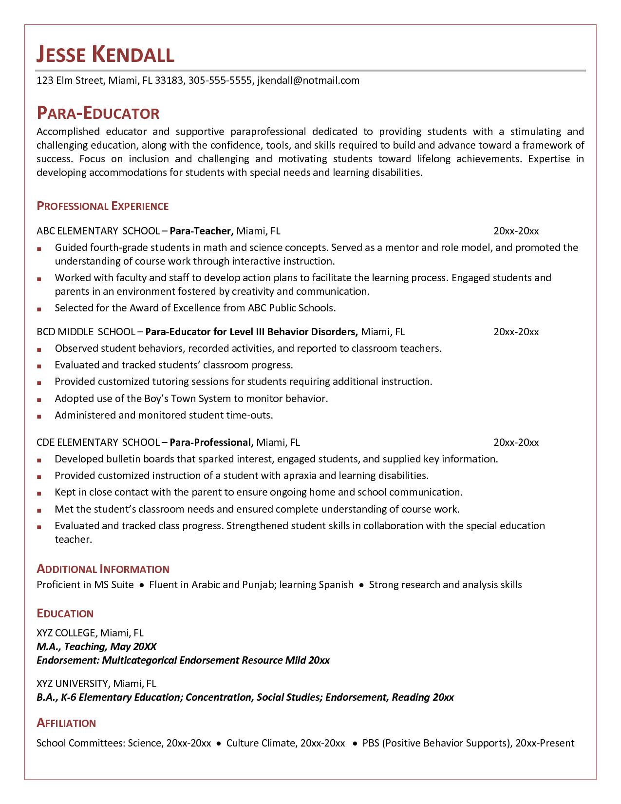 Cover Letter For Paraeducator Example Resumecareer Info