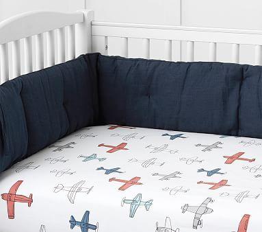 Braden Organic Plane Crib Fitted Sheet White Multi Baby Travel Bed Toddler Boys Room Nursery Bedding