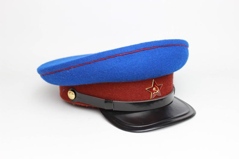 Soviet Russian Nkvd Visor Cap Ussr Hat High Copy Etsy In 2021 Visor Cap Hats Cap