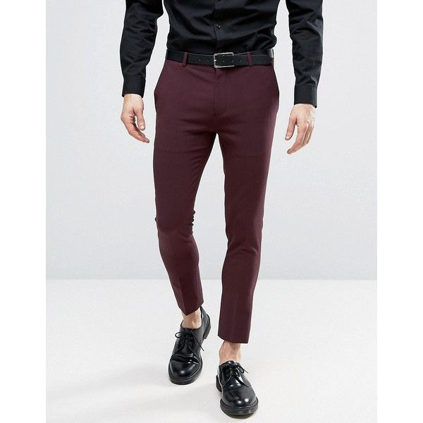 Asos Extreme Super Skinny Cropped Smart Pants In Burgundy 26