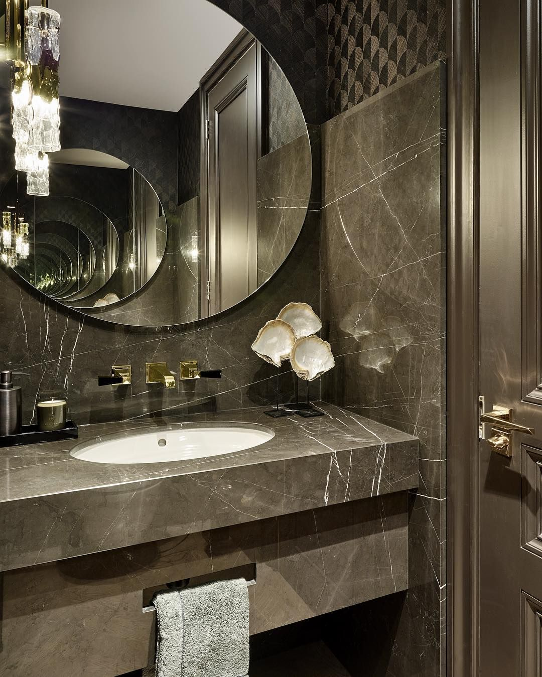 We love a bit of drama in a guest WC, created here with ...