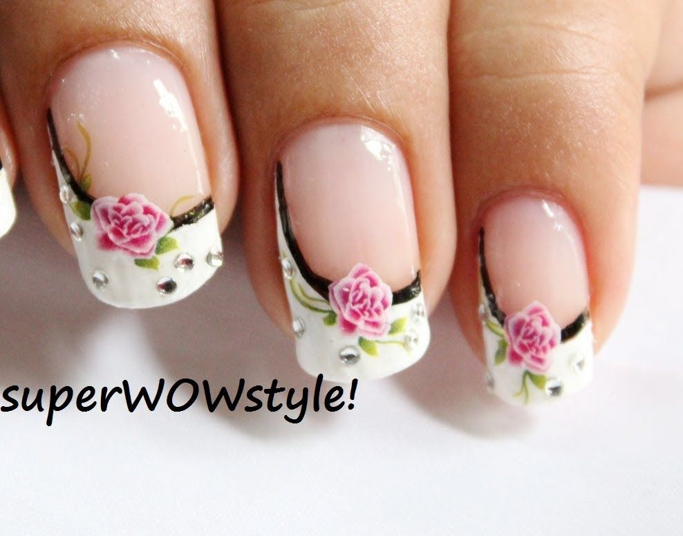 Water Decals + Side French Manicure Nail Designs (French tip nail ...
