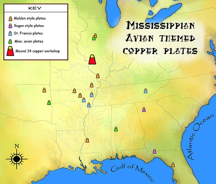 A Map Showing The Geographic Distribution Of Avian Themed Repouss Copper Plates Mississippian Culture Elite Status Goods Found As Artifacts In US