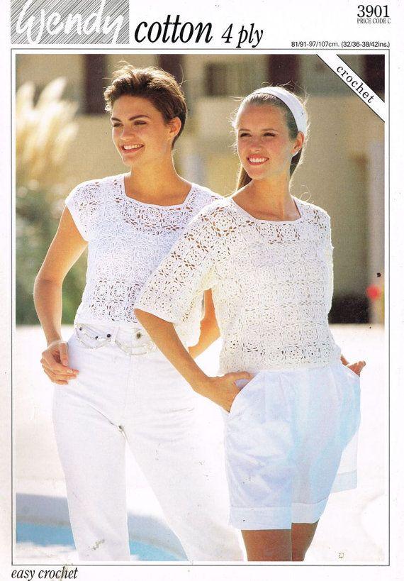 3901W ladies summer top crochet summer wear for ladies vintage ...