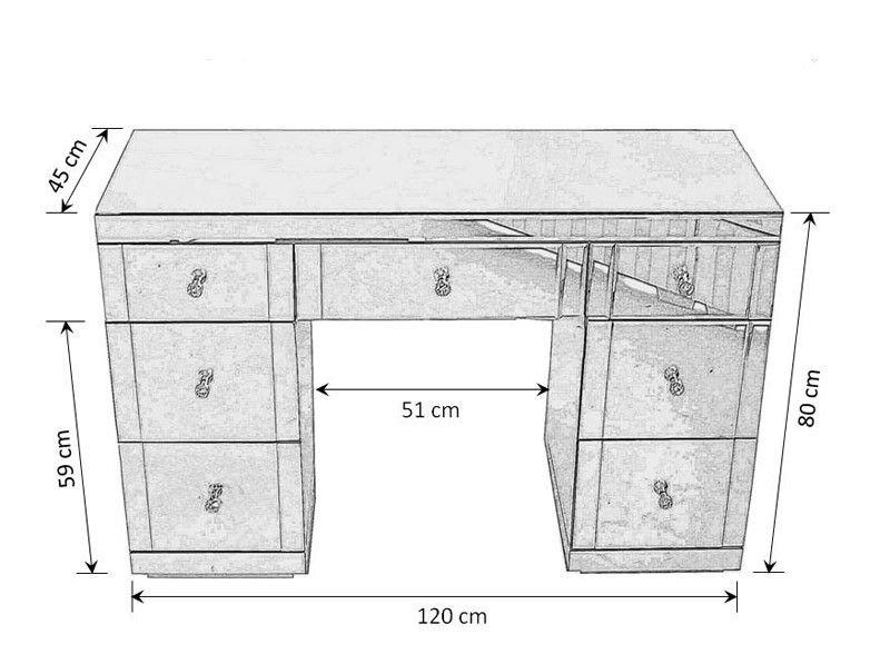 Valeria Toughened Mirrored Dressing Table Dressing Table