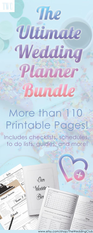 printable wedding planner bundle 100 pages printables
