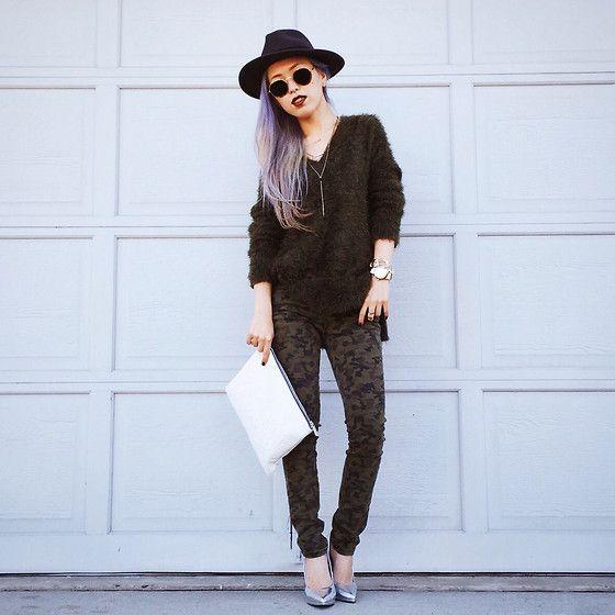 H&M Fedora, H&M Khaki Sweater, Camo Skinny Jenas, Qupid Silver Pumps, Asos Multi Row Necklace, Zara White Clutch, Wholesale Celebshades Round Metal Sunglasses