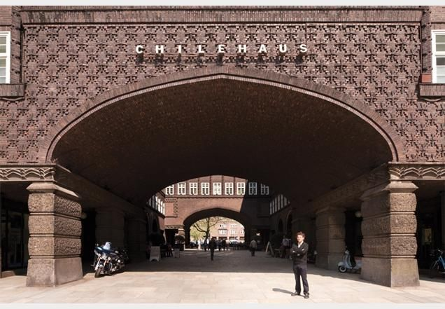 Brickwork over the arch at the chilehaus office building in
