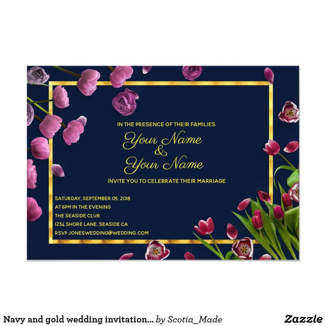 Navy And Gold Wedding Invitation With Tulips Wedding Invitations