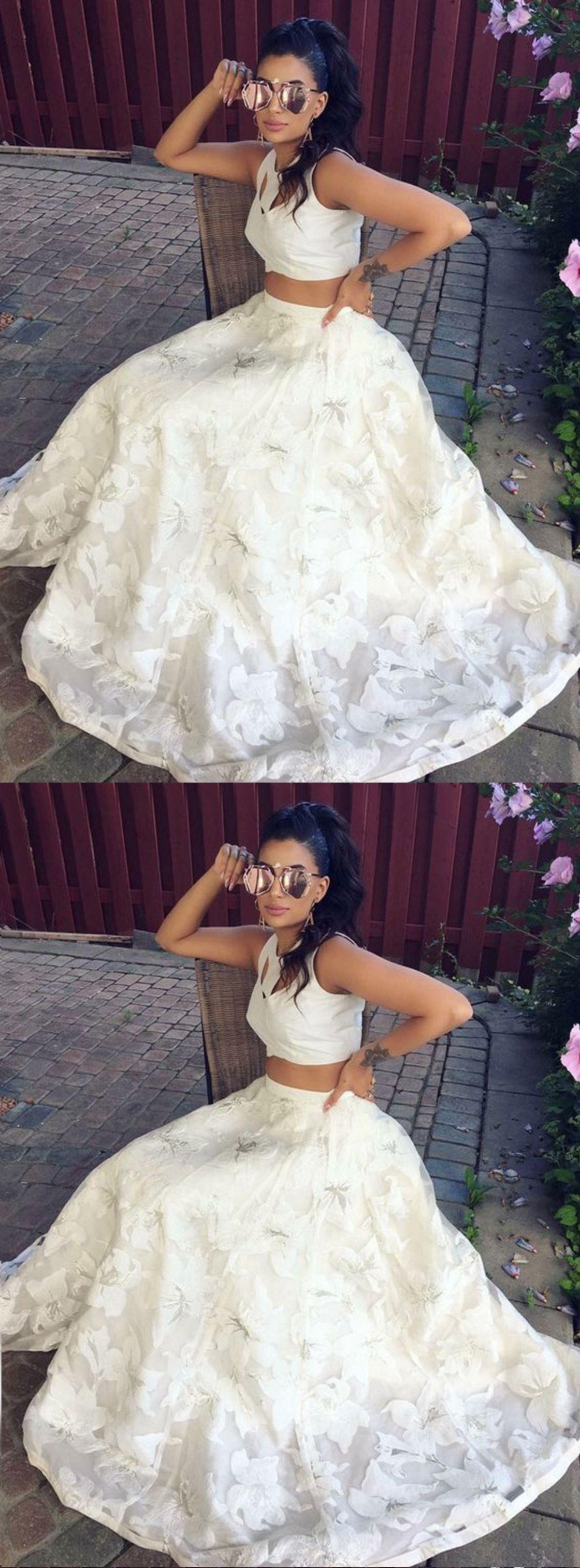 Two piece prom dress lace prom dress white senior prom dress prom