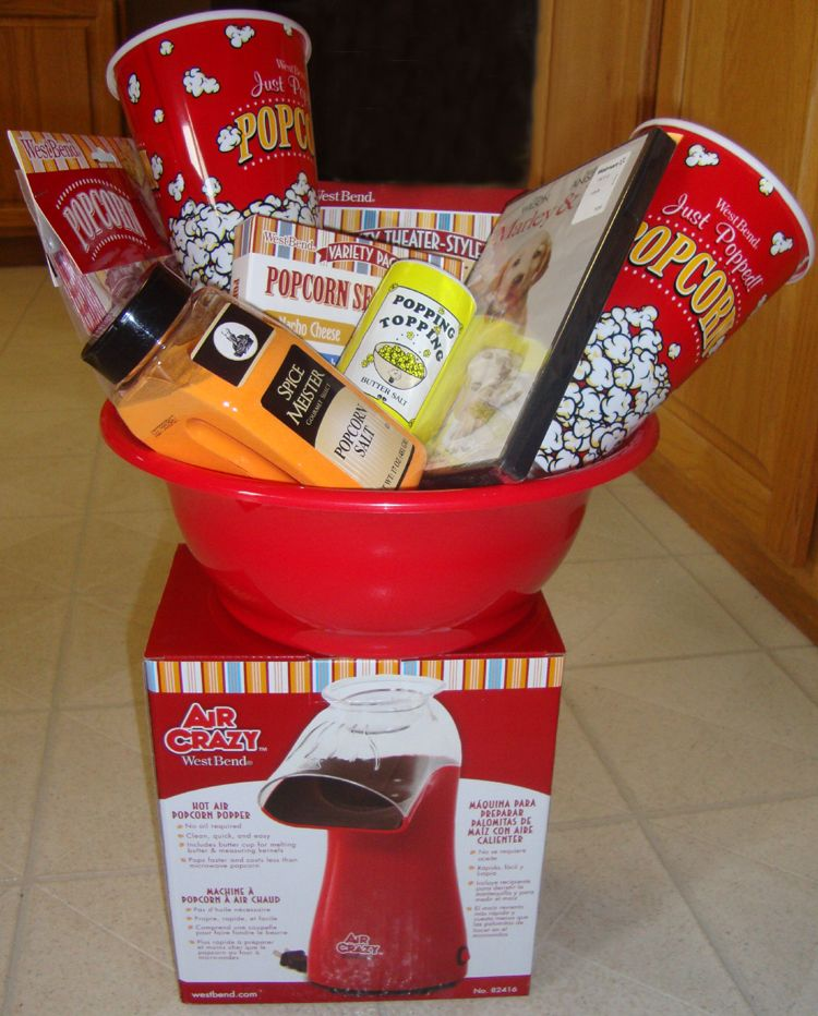 "Wedding Night Basket Ideas: Movie Basket With ""Marley & Me"" Movie, Popcorn Machine"