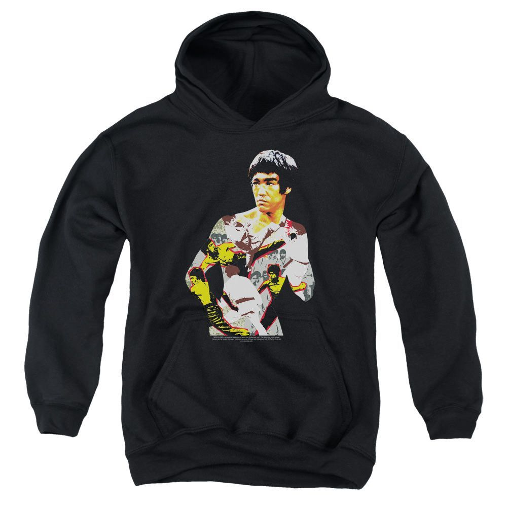Bruce Lee Body of Action Black Youth Hooded Sweatshirt