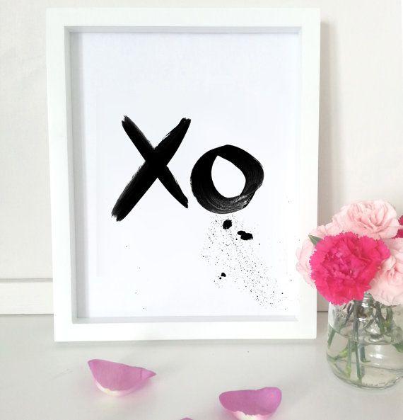Black ink typography art print  XO by PaperInkPrints on Etsy