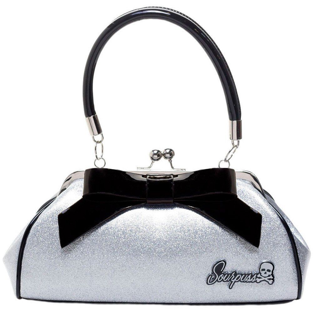 "Sourpuss Floozy Purse Glitter Silver at InkSpired Shop. It's glitzed and glammed up with intensely sparkly, silver glitter vinyl! This vintage-inspired vinyl handbag features a 7"" black vinyl bow with matching piping, kiss lock closure, sturdy handles, circular metal feet and ""Sourpuss"" hardware. The interior is leopard print satin with multiple pockets to hold your essentials. This bag definitely isn't for shy gals, as it's bound to get you noticed! Measures: 12"" x 6"" x 4"". It has…"