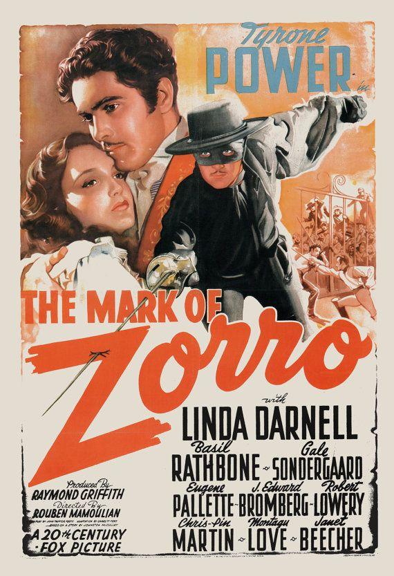 VINTAGE MOVIE POSTER Zorro Movie Poster by EncorePrintSociety
