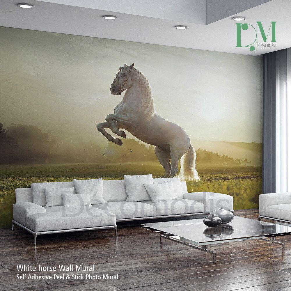 Horse Wall Murals white horse wall mural, wild horse self adhesive peel | wall