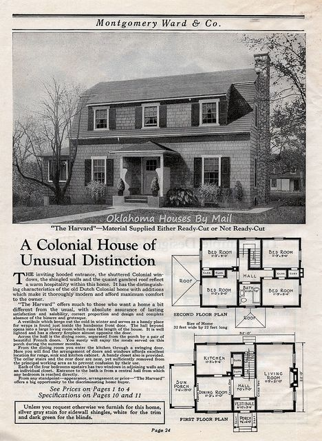 Wardway 1923 Pg24 Dutch Colonial Dutch Colonial Homes House Plans