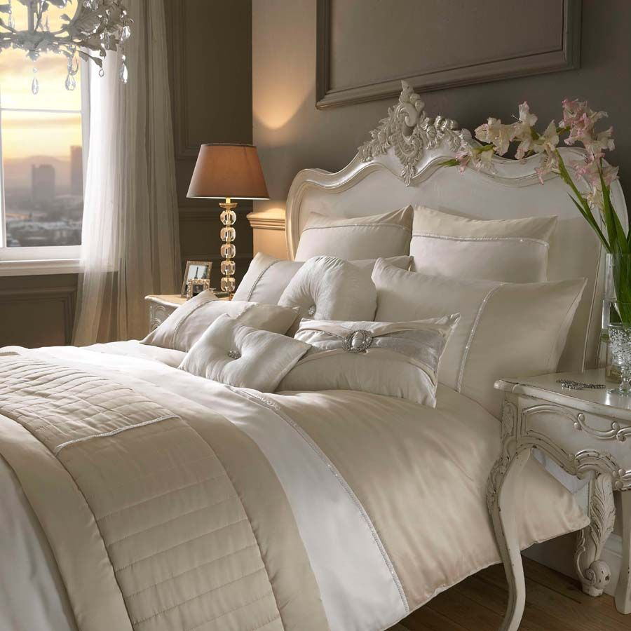 opulent design cream bedding. Kylie Minogue Bedding  Yarona Oyster Sumptuous soft oyster and warm caramel satin with a hint of sparkle this bed linen is chic simply enchanting YARONA Gold Cream Bed LInen Duvet