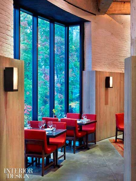 Wood panelling detail over brick - Falling Water - The-Roundhouse-Beacon- ID Mag