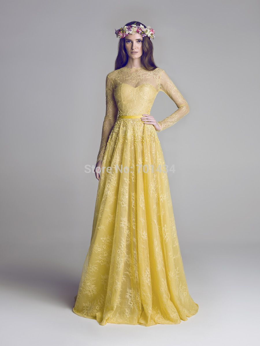 Yellow lace vintage wedding dress it will happenhopefully