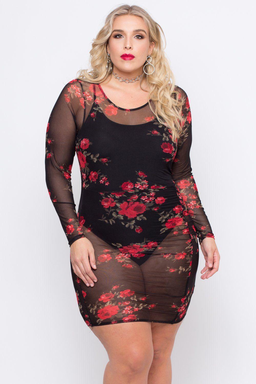 49990334 Plus Size Rose Garden Mesh Dress - Black | Plus size women rule ...
