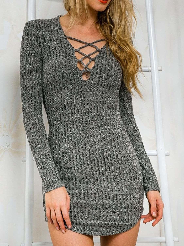DREAGAL Women's Plunge Neck Lattice Lace Up Long Sleeve Bodycon Mini Dress at Amazon Women's Clothing store