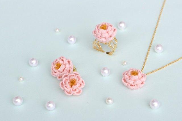 正絹 椿のアクセサリー♡おとめ3点セット ピンク つまみ細工 - あんみつゆっか