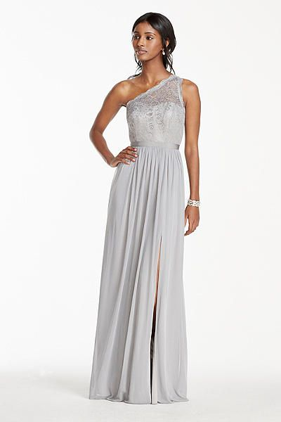 42dd3f70bc7 Long One Shoulder Metallic Lace and Mesh Dress F17063M- davids bridal comes  in gold