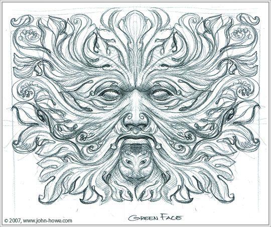 Koru Curled Green Man Drawing By John Howe Love Having