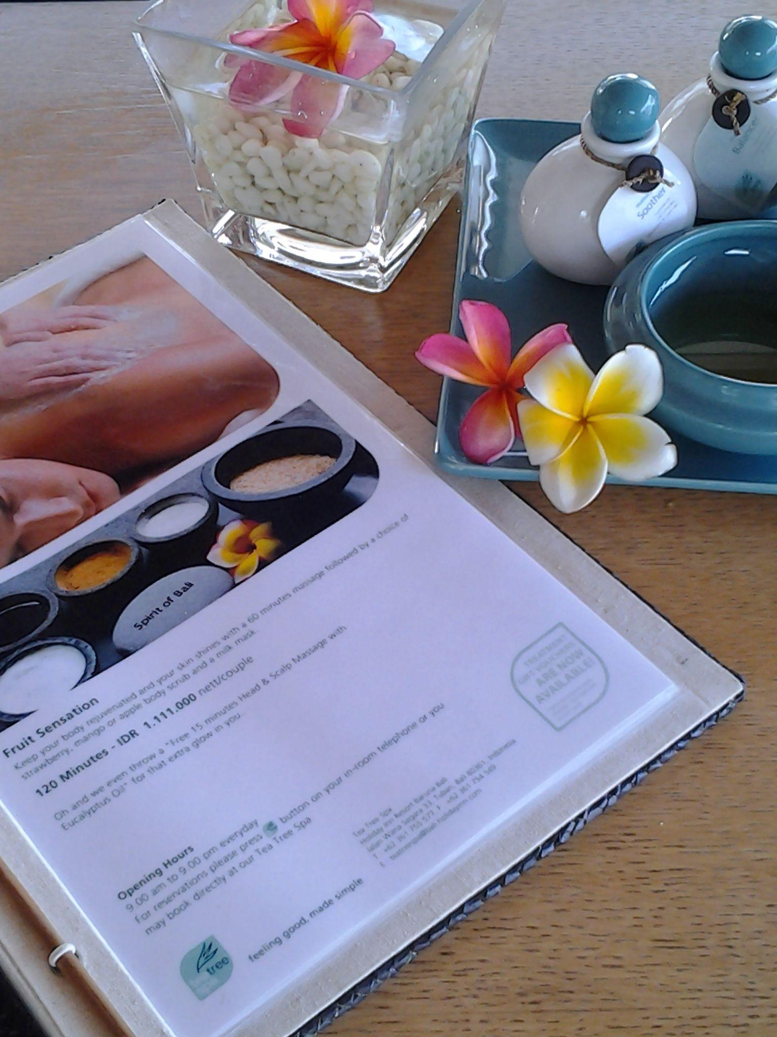 Fruit sensation menu...menu spa tea oil salt flower