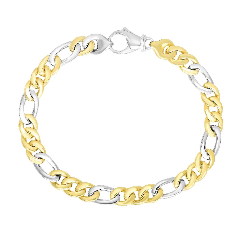 K twotone gold menus figaro link style bracelet