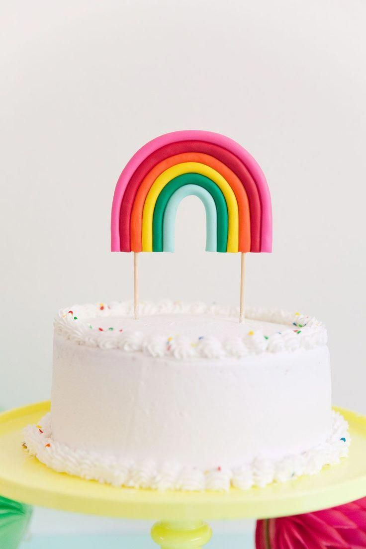 Photo of Make this adorable DIY rainbow cake topper! Perfect for any rainbow or unicorn t…