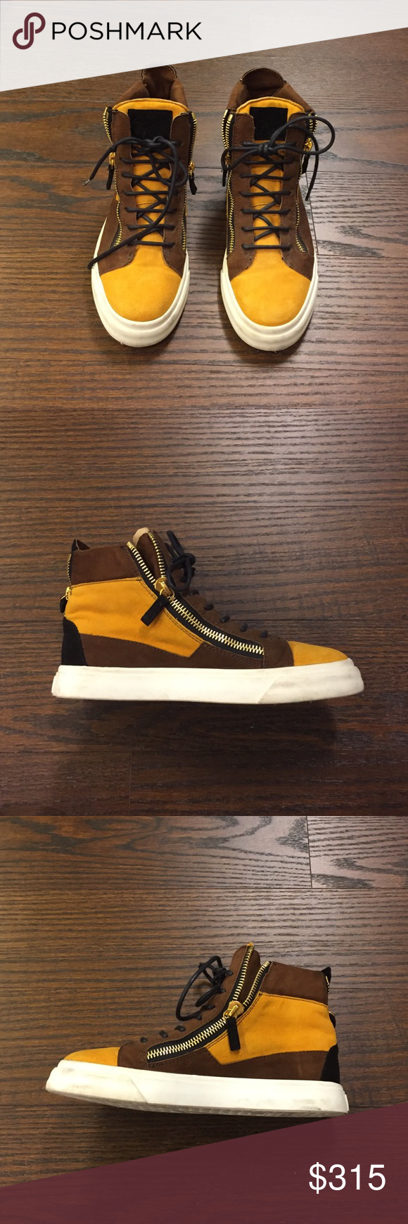 Giuseppe Zanotti High tops size 38 Original Giuseppe Zanotti high tops, size 38, barely worn, mustard yellow and brown with black details and gold zippers along sides and back Giuseppe Zanotti Shoes Sneakers