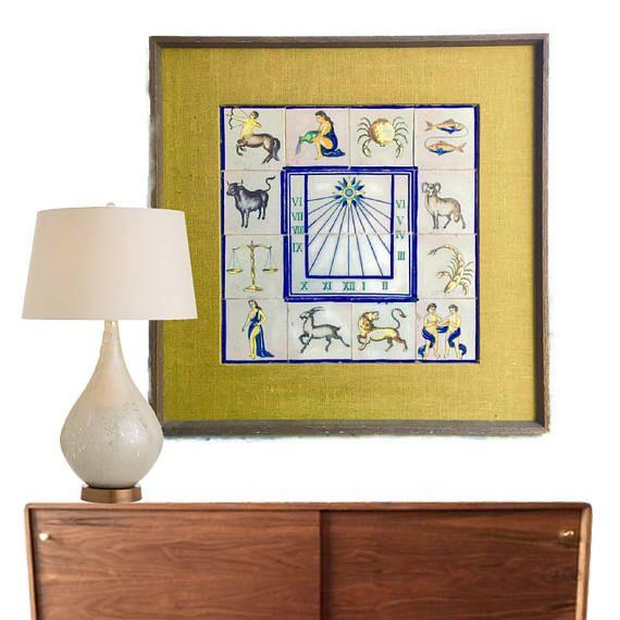 Mid Century Modern Wall Art Zodiac Ceramic Tiles 33   Etsy STUDIO180 ...