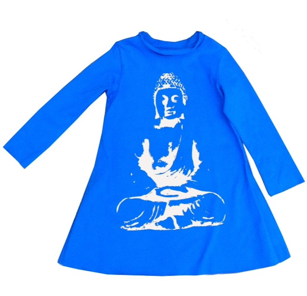 Girls Organic Cotton A-Line Dress with Buddha Print in Electric Blue by TeresKidsShop on Etsy