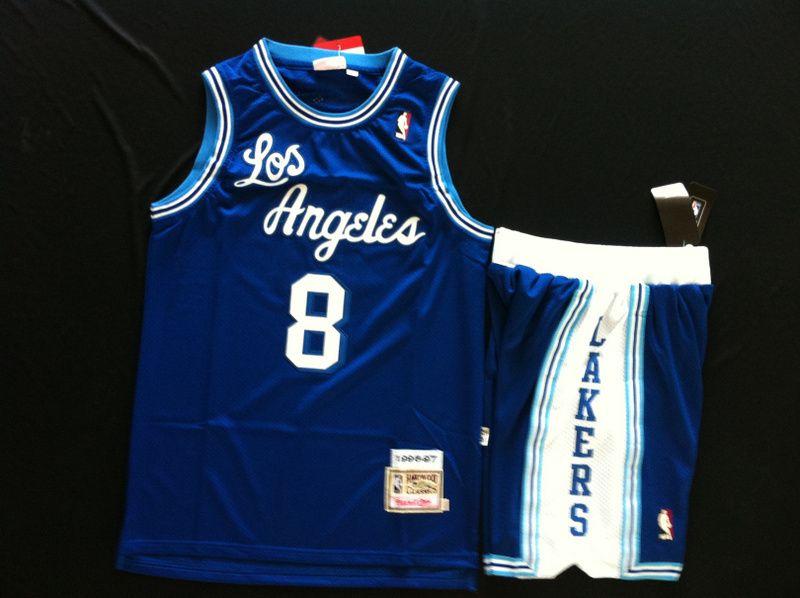 Nba Retro Los Angeles Lakers Kobe Bryant 8 Hardwood Mitchell Blue Basketball Set Jersey Nike Nikeairjorda Lakers Kobe Bryant Basketball Clothes Kobe Bryant 8