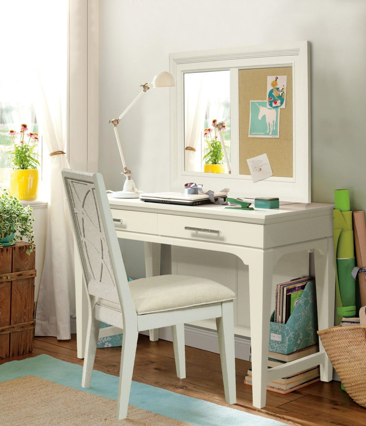 Transitional Youth Bedroom Desk, Mirror and Chair