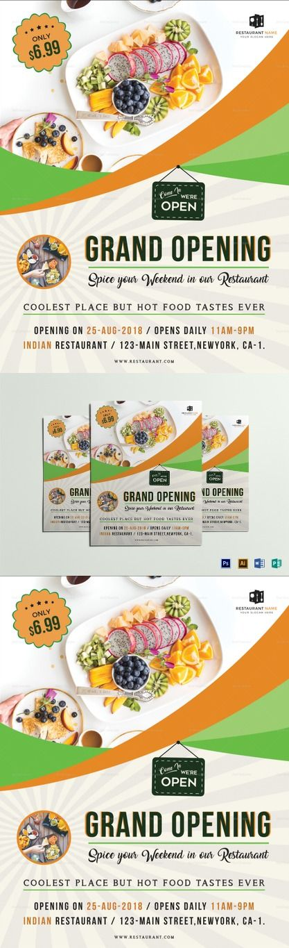 Restaurant Grand Opening Flyer Template Commercial Printing Design