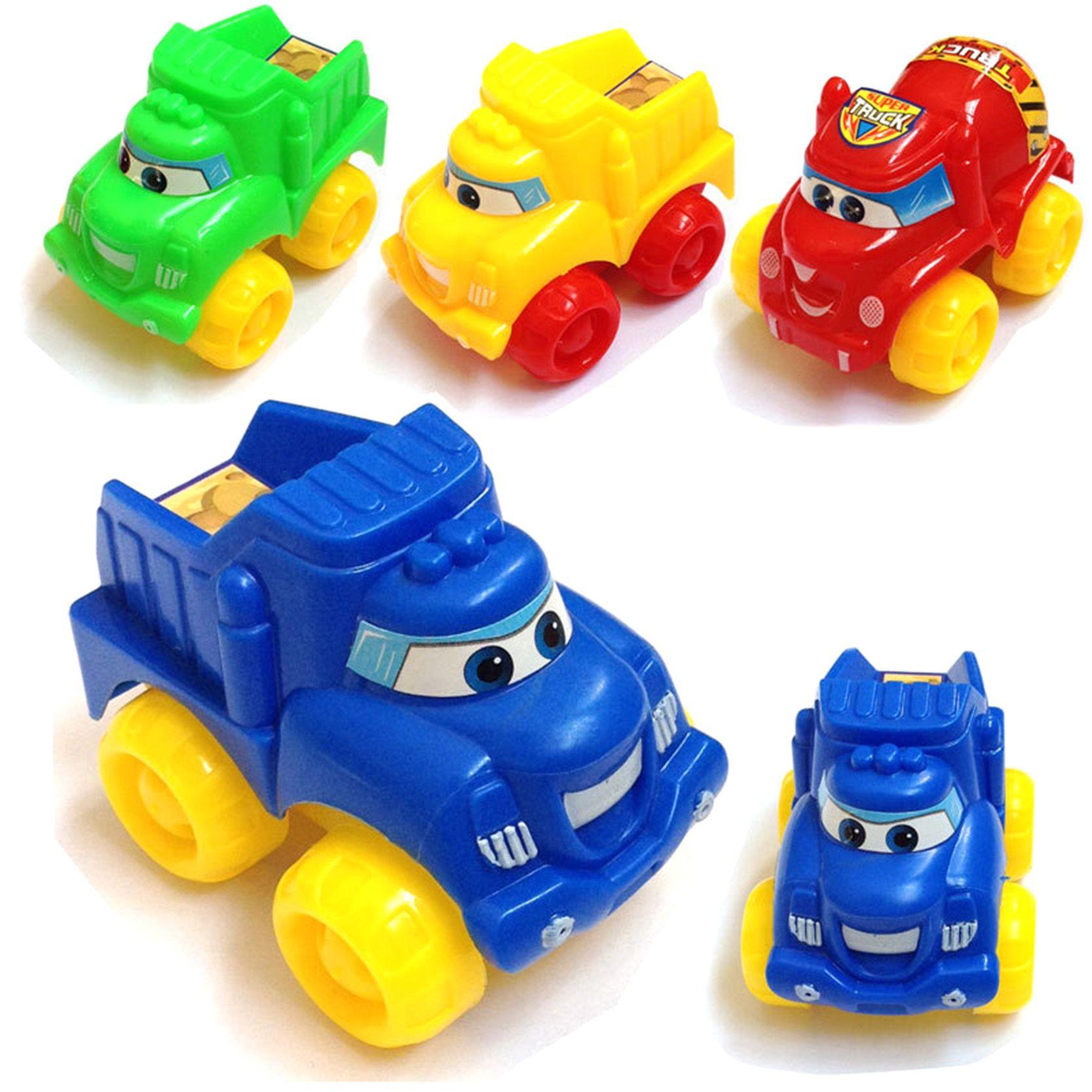 Kawaii Candy Color Cartoon Anime Smile Toys Cars For Kids Boys Children Diecast Pull Back Model Car 4 Pcs Rand Petites Voitures Voiture Jouet Modele De Voiture