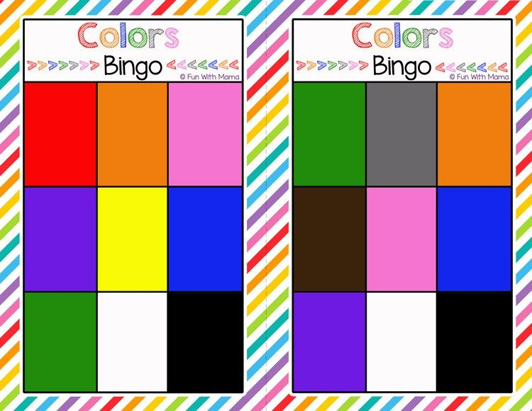 Bingo Colors Printable | Educational games for toddlers ...