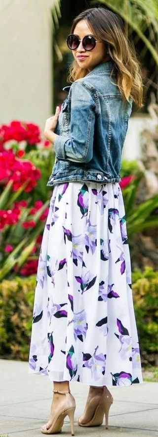 #summer #trending #outfits |   Denim Jacket + Floral Maxi Dress
