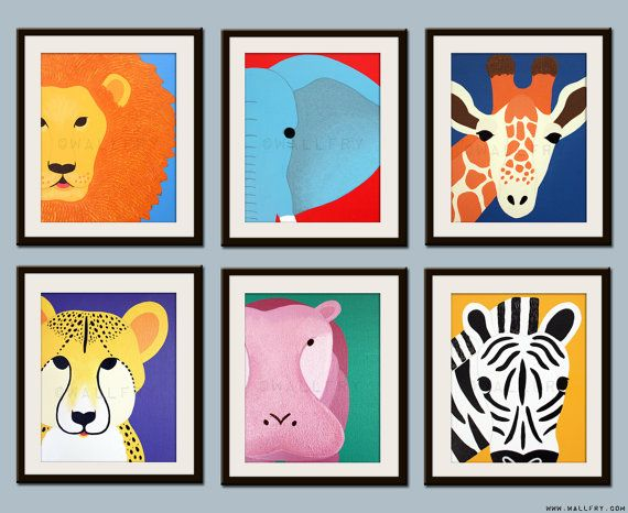 Kids Art For Children Decor Jungle Nursery Safari Animal Wall Baby Any 3 8x10 Prints