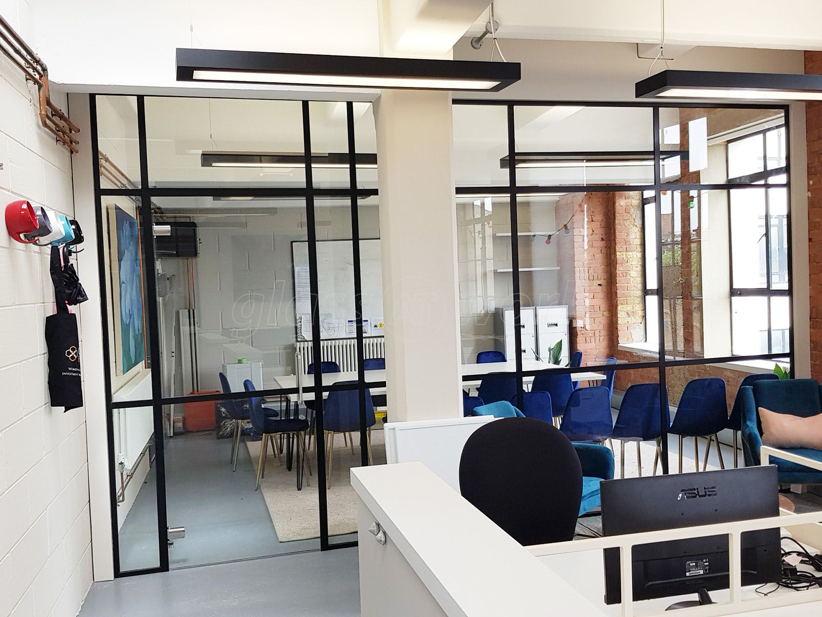 Black T Bar Industrial Warehouse Style Glazed Partitions For