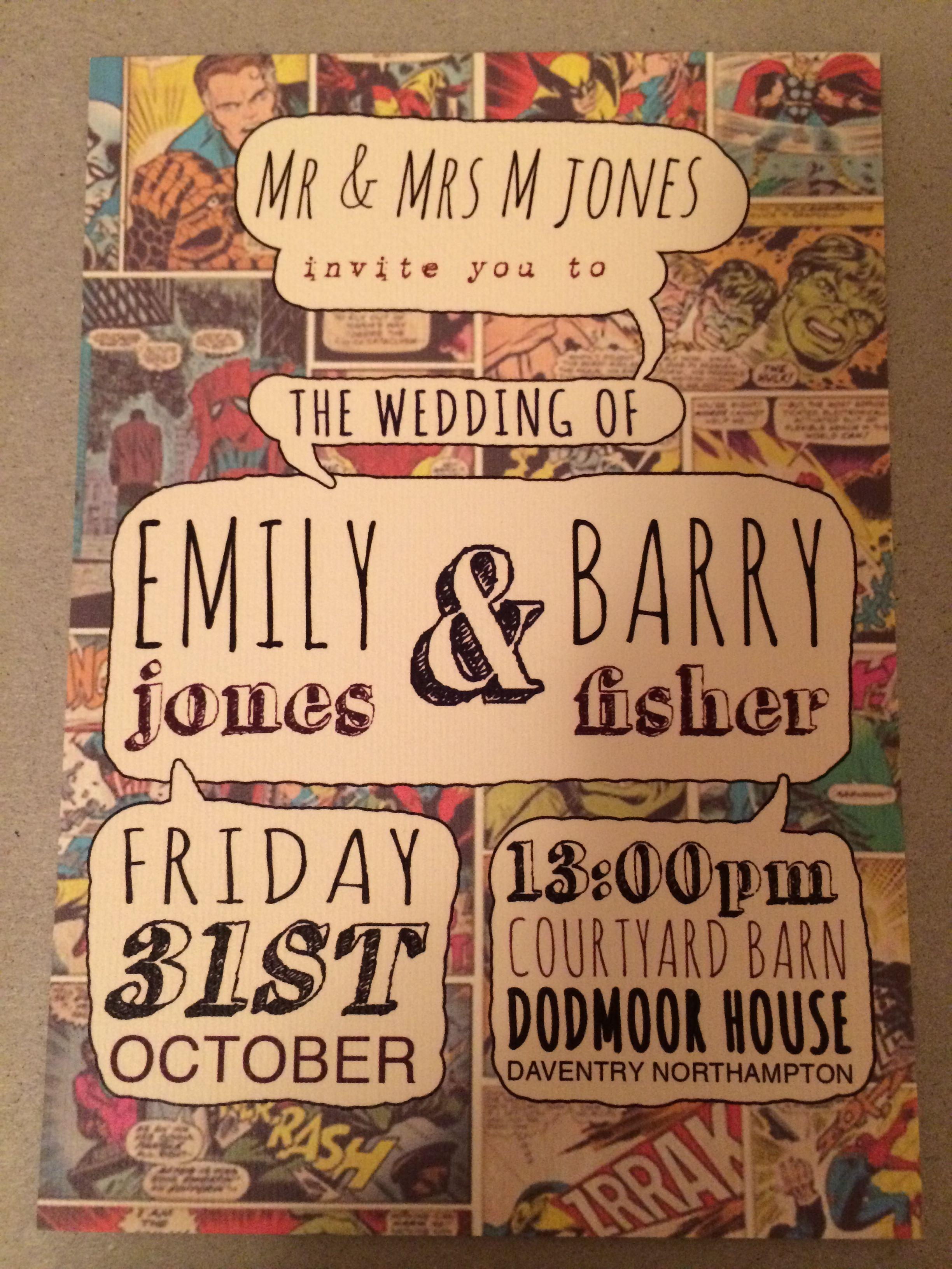 Our Day Wedding Invitation Marvel Wedding Superhero Wedding Comic Wedding