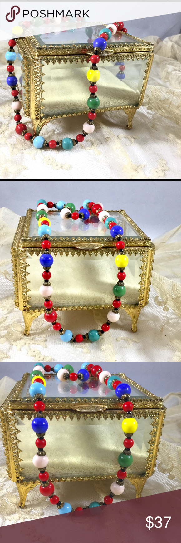 Vintage Art Deco 1930s Glass Bead Necklace Stunning original Art Deco multicolor glass beads with bronze filigree bead caps.  Excellent vintage condition. Vintage Jewelry Necklaces