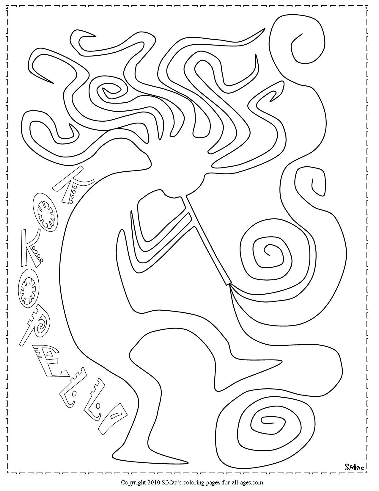 Kokopelli Coloring Pages Kokopelli Art Coloring Pages Native American Quilt Patterns