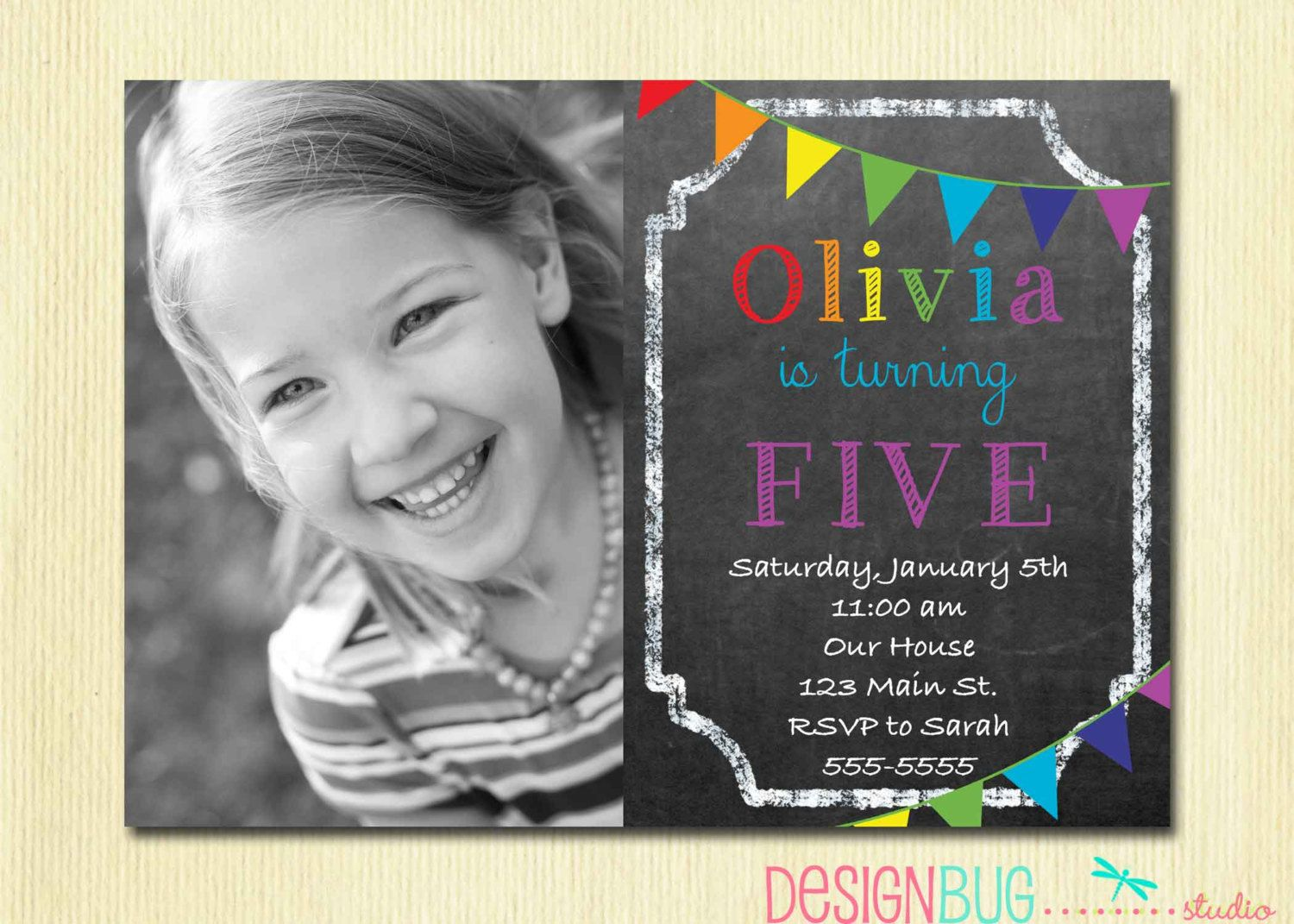 Rainbow Chalkboard Birthday Invitation
