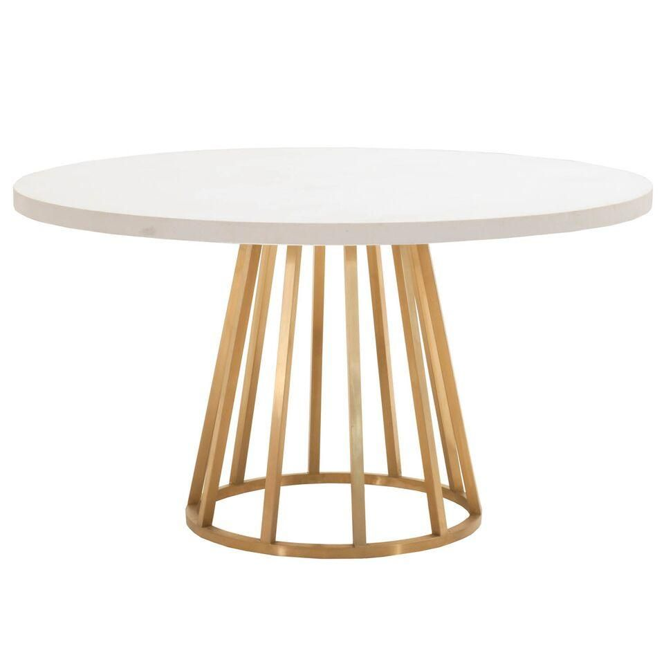 54 White Concrete And Brushed Gold Round Meeting Table Dining