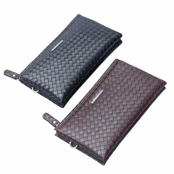 Sale 14% (17.67$) - Men Women Woven Pattern PU Business Long Wallet Card Holder Cellphone Wallet